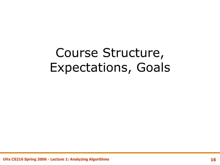 Course Structure, Expectations, Goals