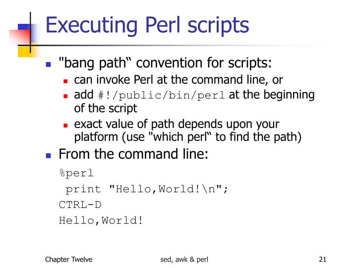 Executing Perl scripts