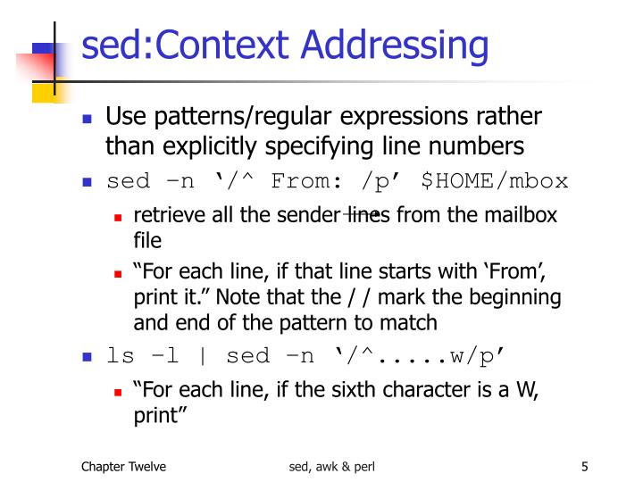 sed:Context Addressing