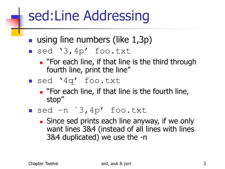 Sed line addressing