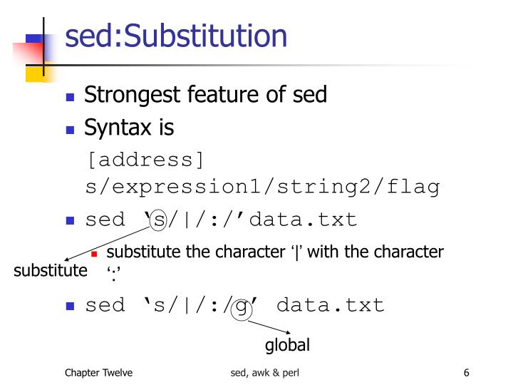 sed:Substitution