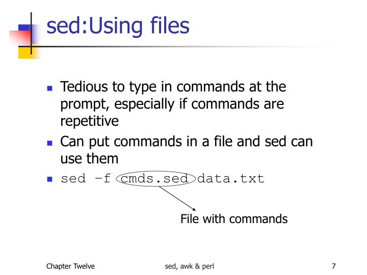 sed:Using files
