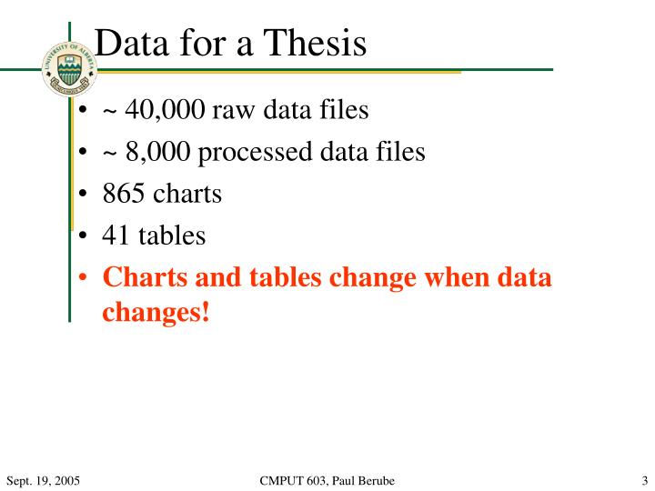 Data for a thesis