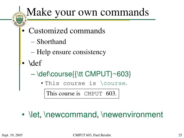 Make your own commands