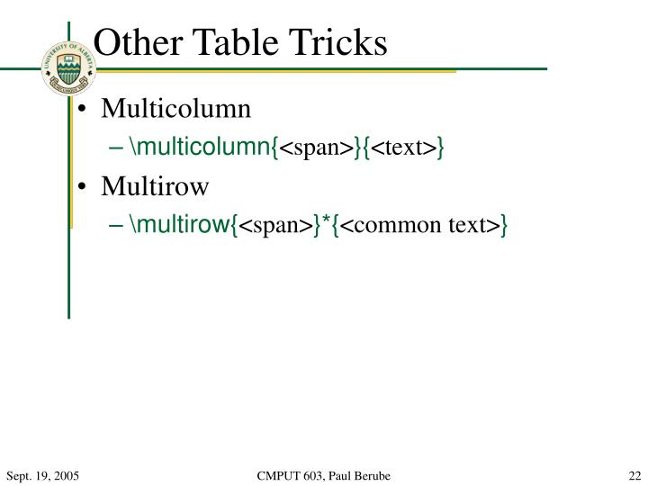 Other Table Tricks