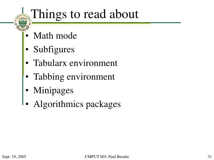 Things to read about