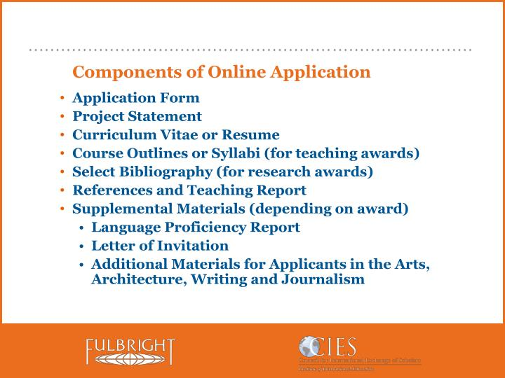 Components of Online Application