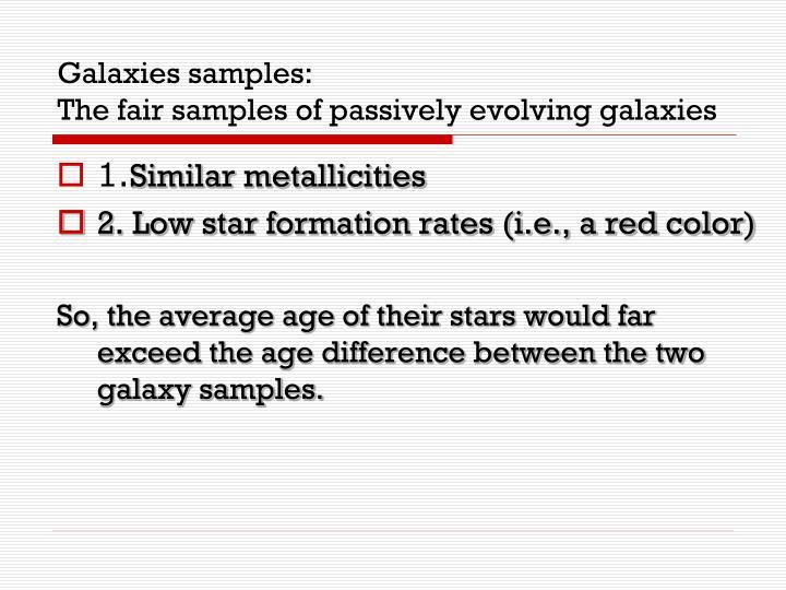 Galaxies samples: