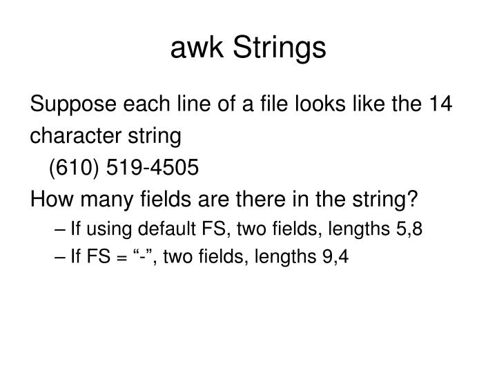 awk Strings