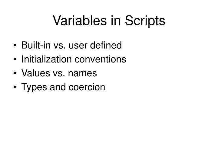 Variables in Scripts
