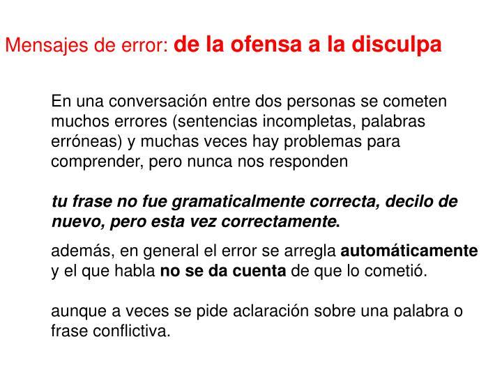 Mensajes de error: