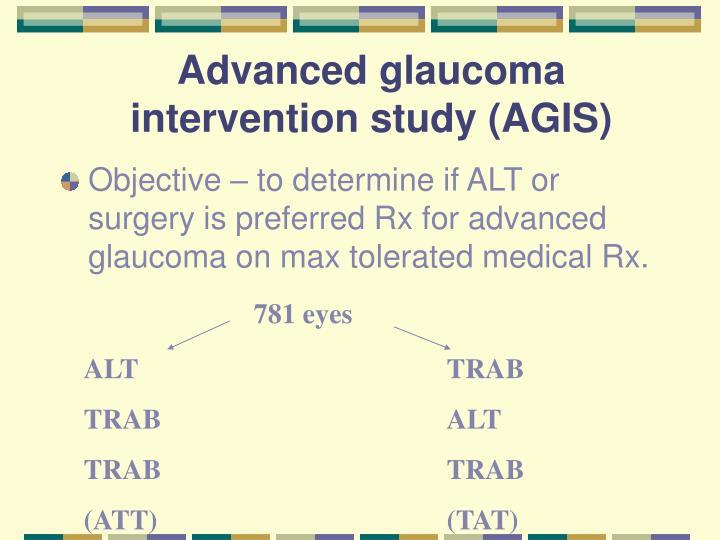 Advanced glaucoma intervention study (AGIS)