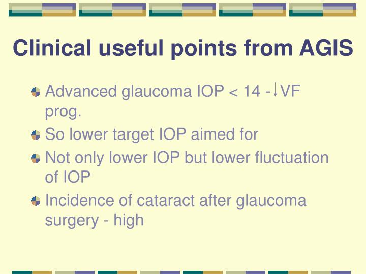 Clinical useful points from AGIS
