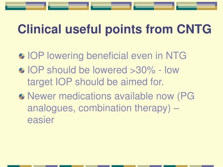 Clinical useful points from CNTG