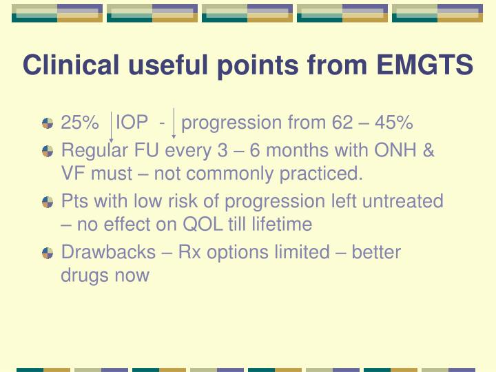 Clinical useful points from EMGTS
