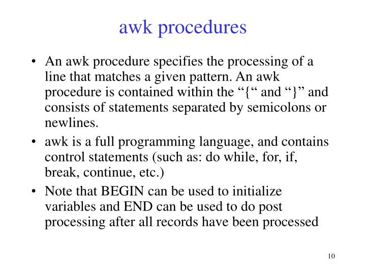 awk procedures