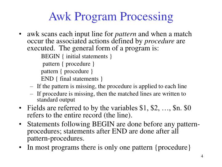 Awk Program Processing