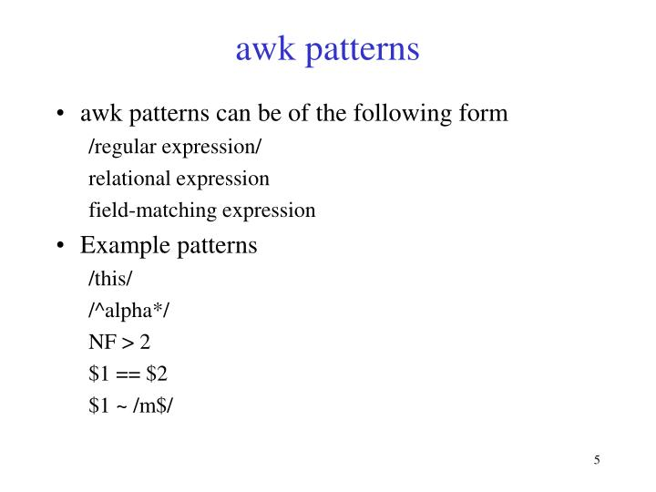 awk patterns