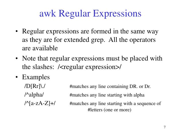 awk Regular Expressions