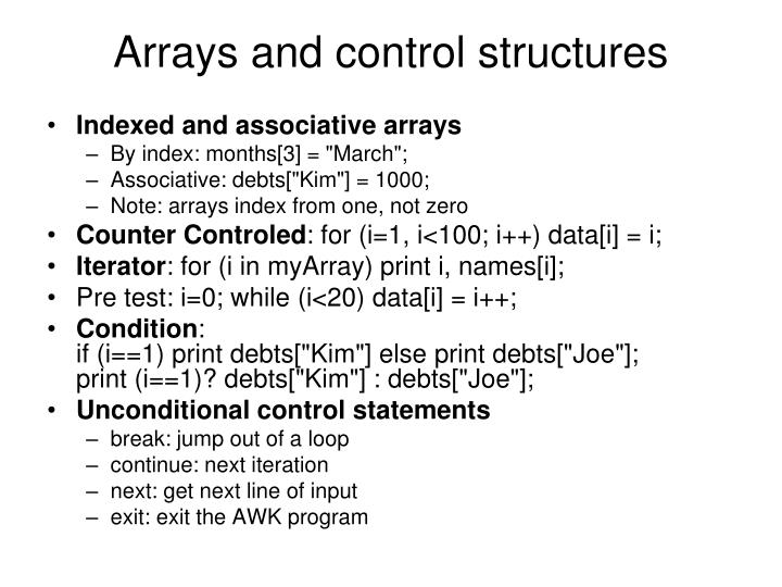 Arrays and control structures