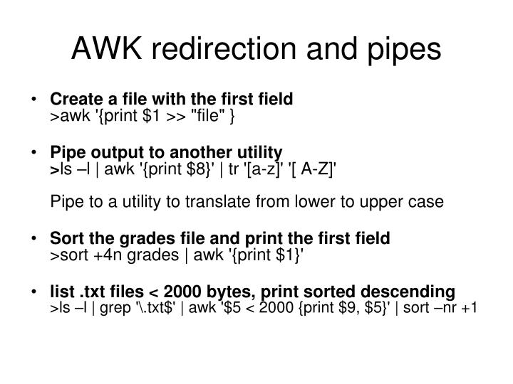 AWK redirection and pipes