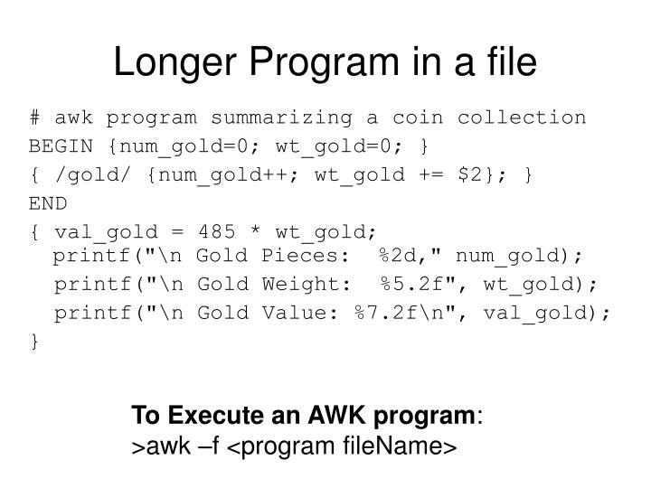 Longer Program in a file
