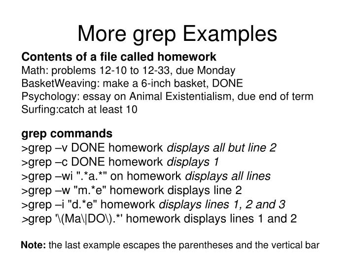 More grep Examples