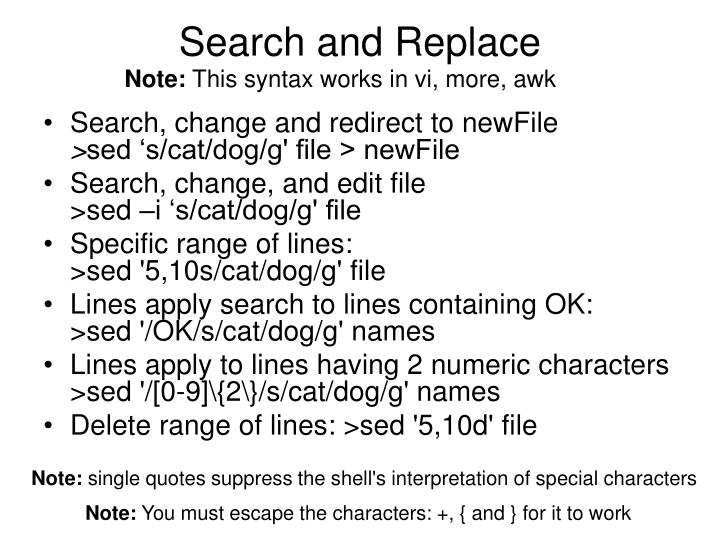 Search and Replace