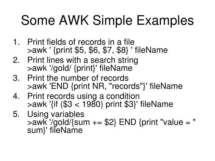 Some AWK Simple Examples