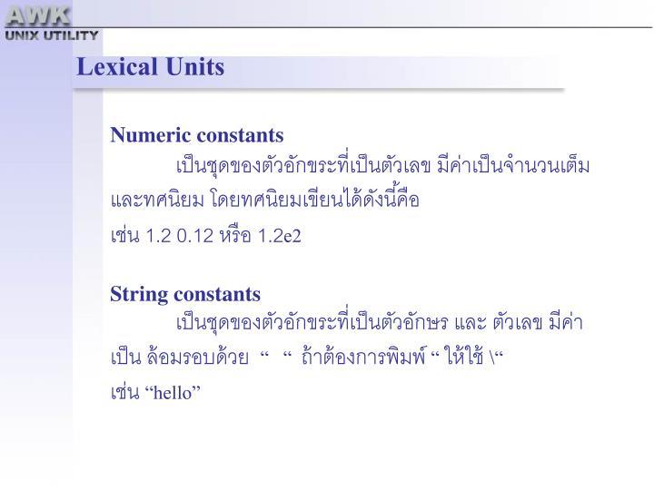 Lexical Units