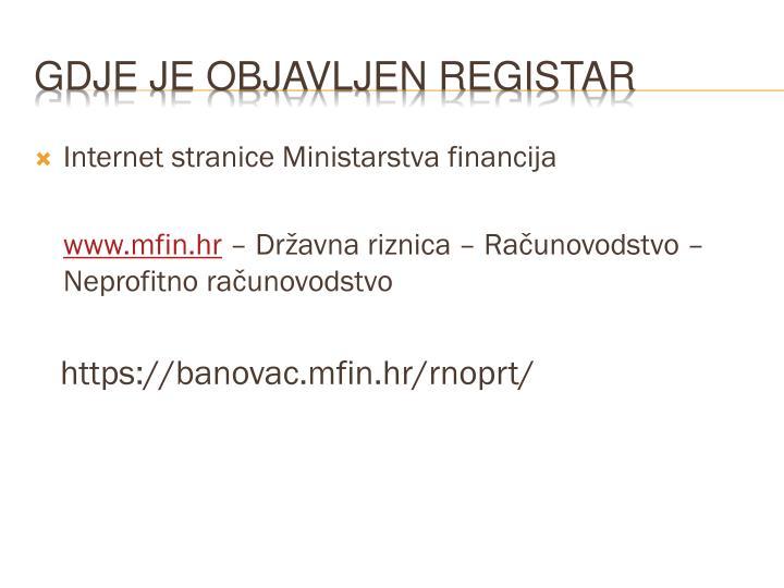 Internet stranice Ministarstva financija
