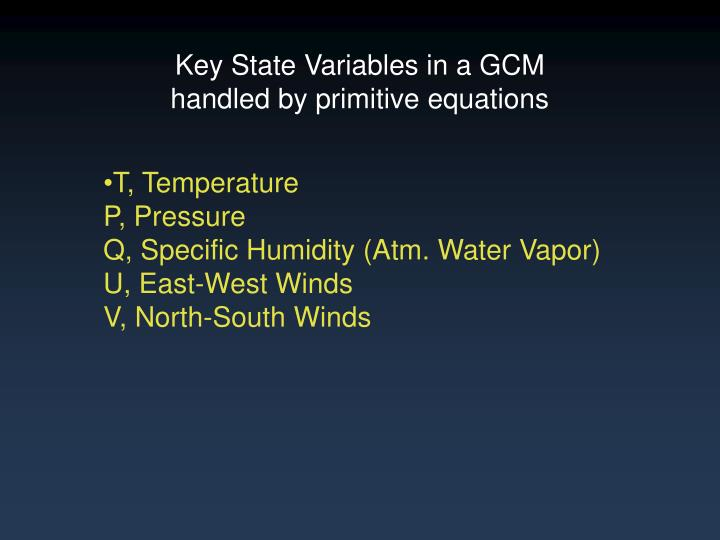 Key State Variables in a GCM