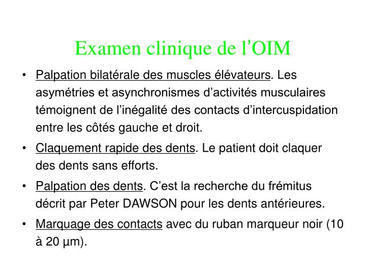 Examen clinique de l
