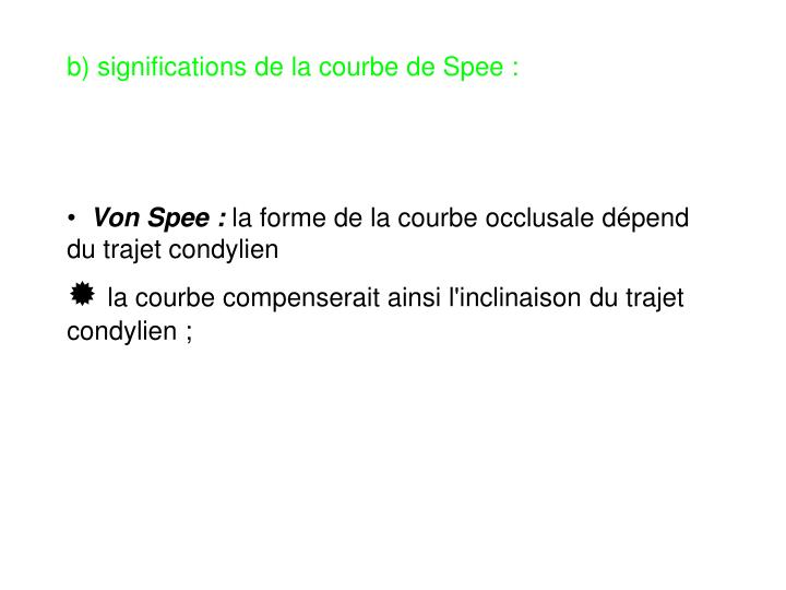 b) significations de la courbe de Spee :