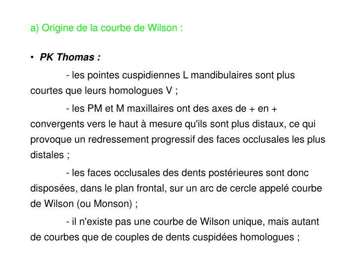 a) Origine de la courbe de Wilson :