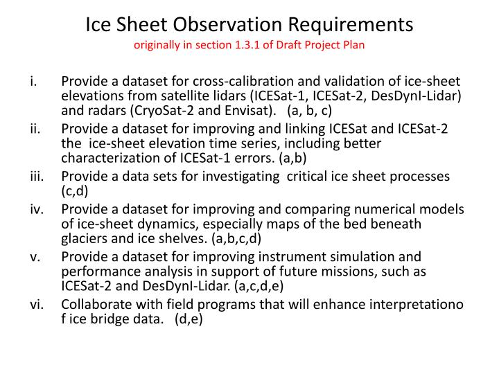 Ice Sheet Observation Requirements