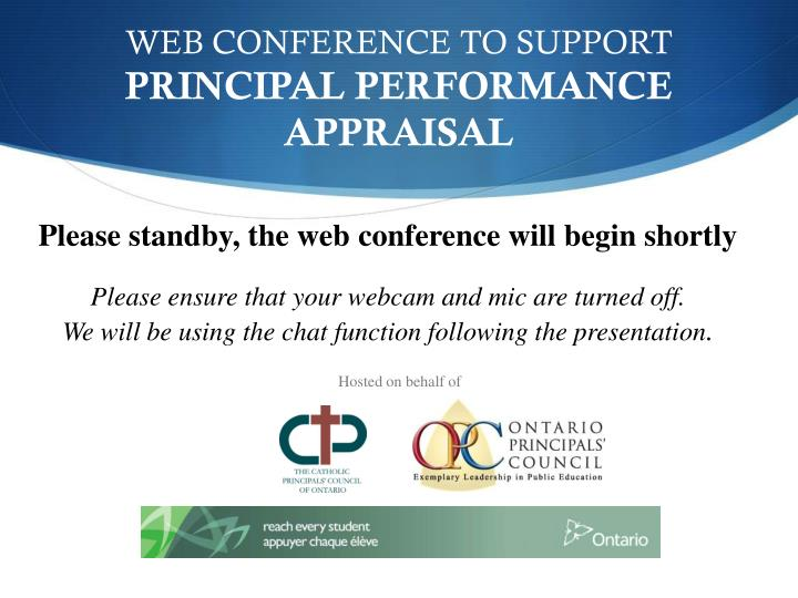 WEB CONFERENCE TO SUPPORT