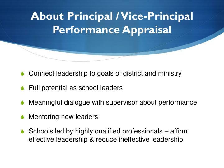 About Principal / Vice-Principal Performance Appraisal
