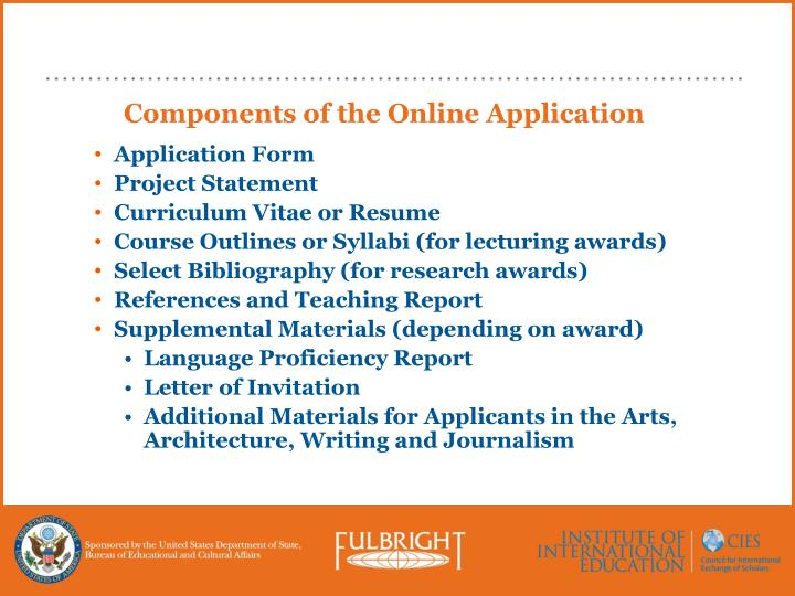 Components of the Online Application