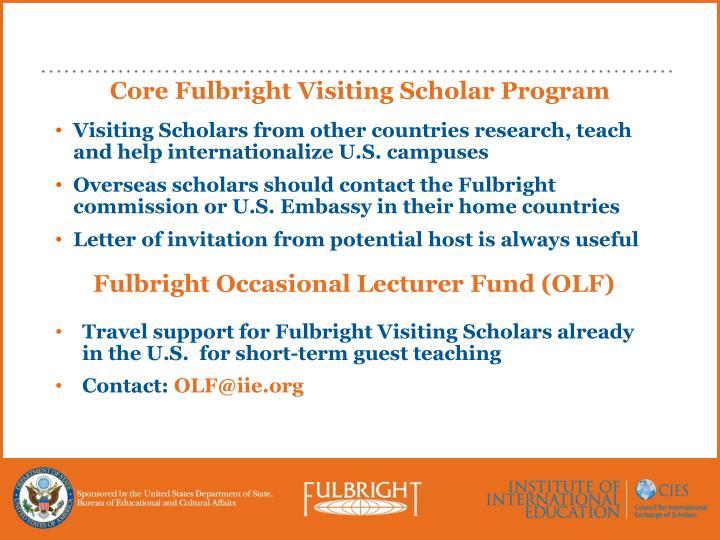 Core Fulbright Visiting Scholar Program