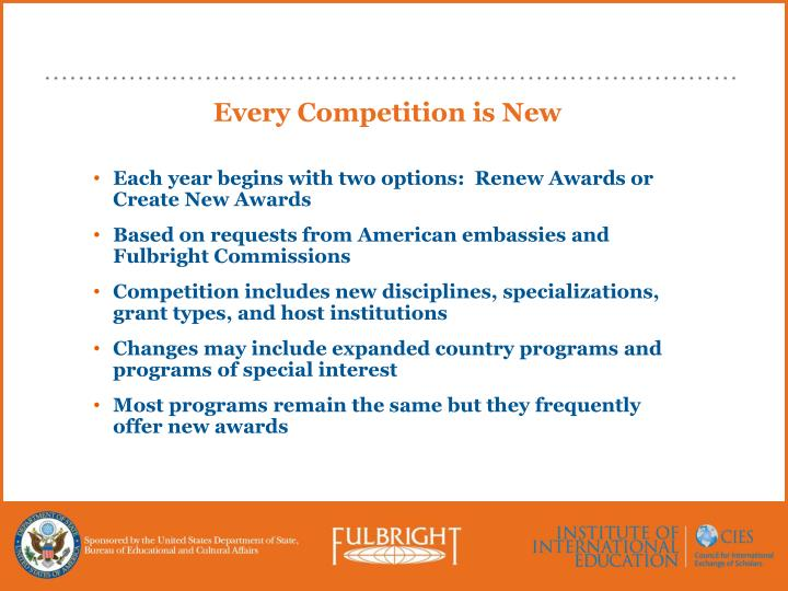 Every Competition is New