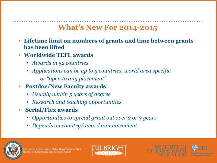 What's New For 2014-2015