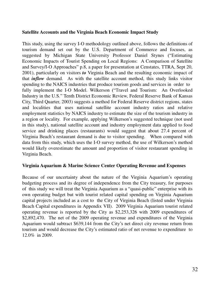 Satellite Accounts and the Virginia Beach Economic Impact Study