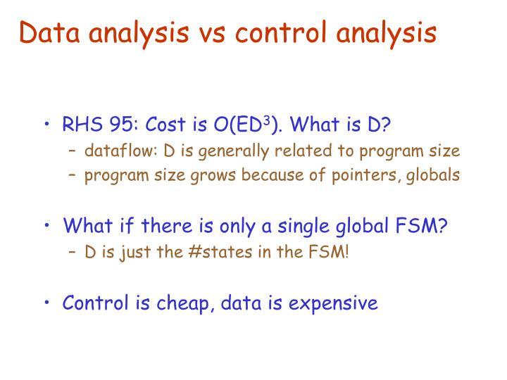 Data analysis vs control analysis
