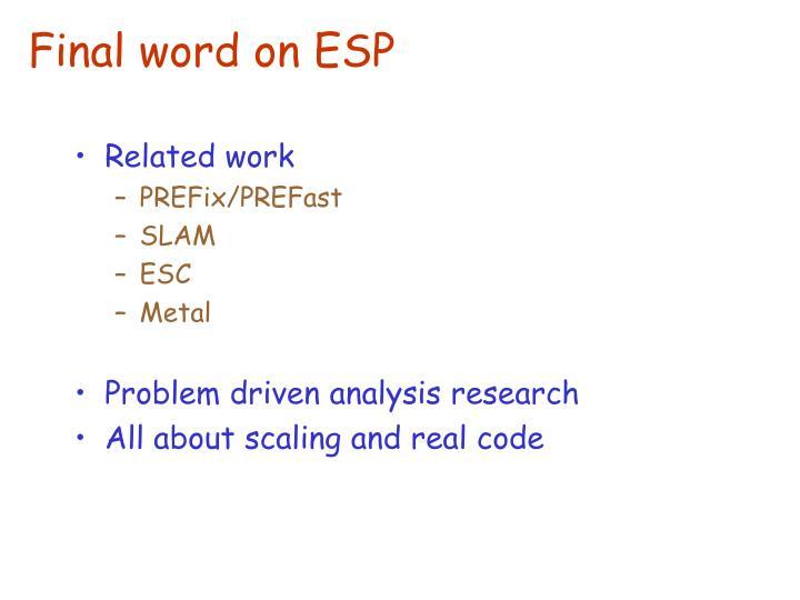 Final word on ESP