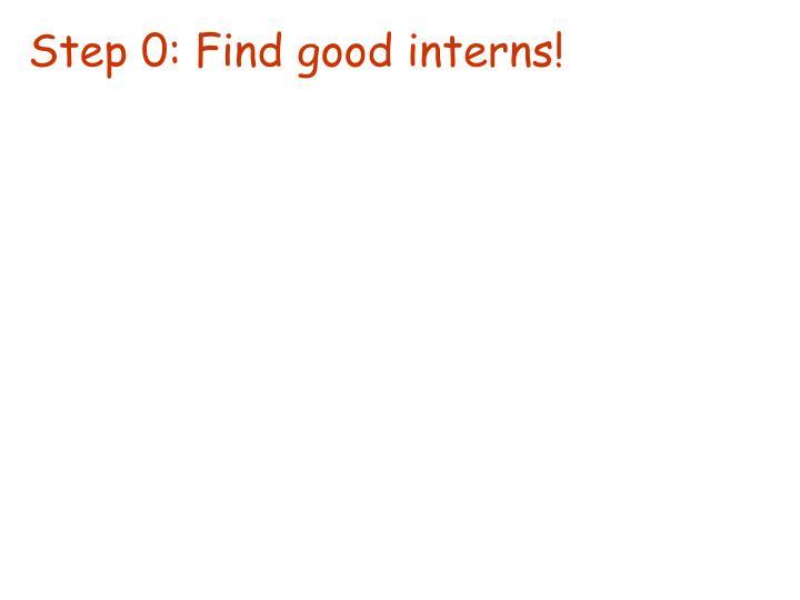 Step 0: Find good interns!