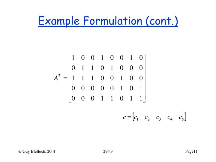 Example Formulation (cont.)