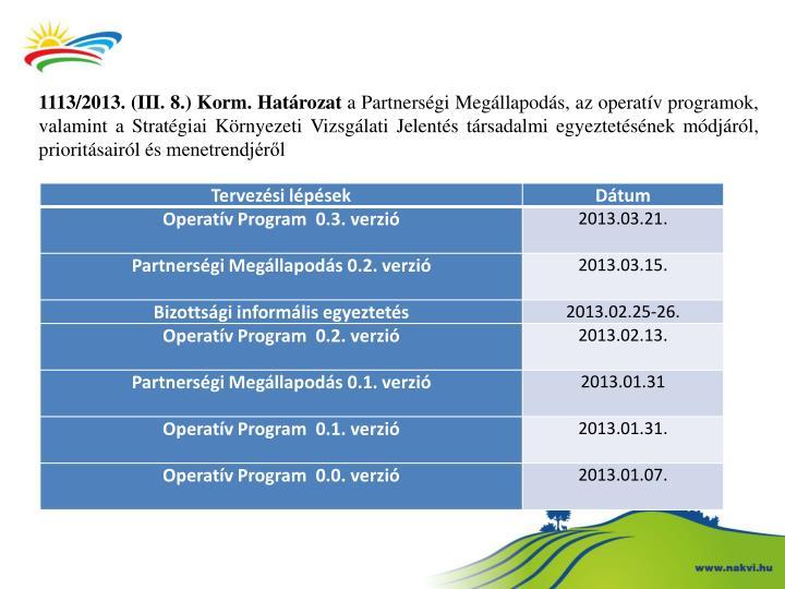 1113/2013. (III. 8.) Korm. Határozat