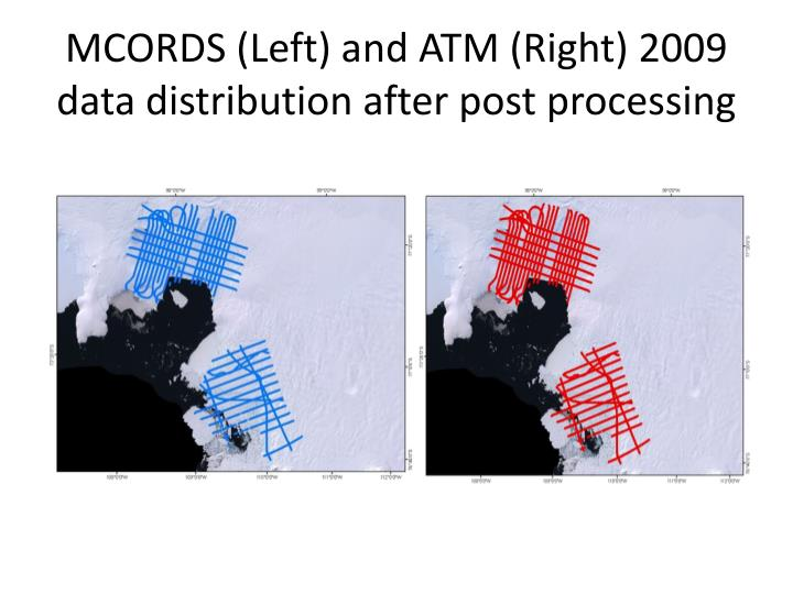 MCORDS (Left) and ATM (Right) 2009 data distribution after post processing