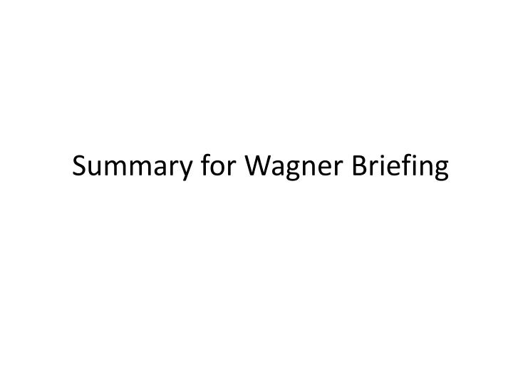 Summary for Wagner Briefing